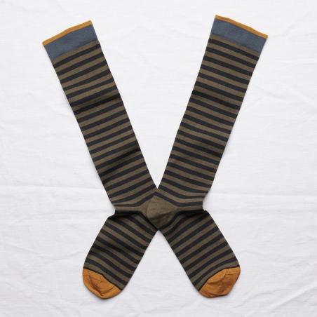 chaussettes - bonne maison -  Rayure - Kaki - femme - homme - mixte