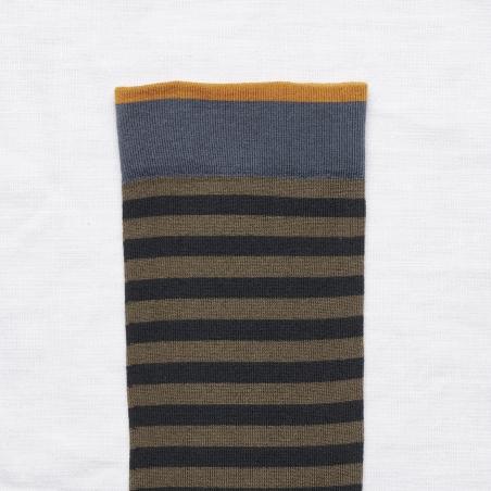 socks - bonne maison -  Stripe - Khaki - women - men - mixed