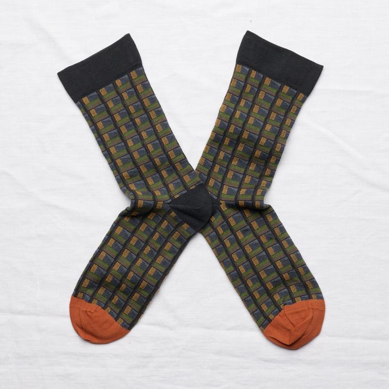socks - bonne maison -  Check - Dark - women - men - mixed