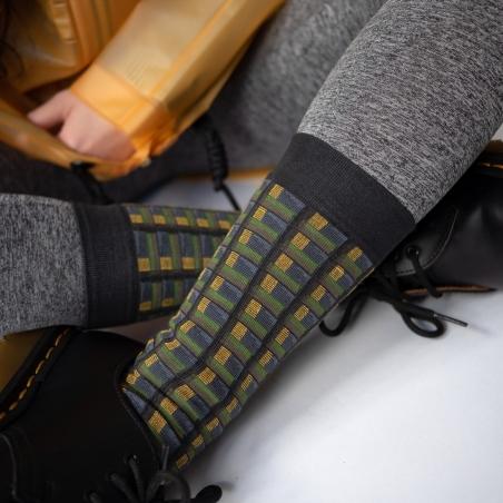 chaussettes - bonne maison -  Carreaux - Faux noir - femme - homme - mixte