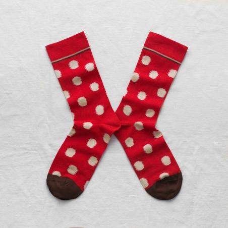 chaussettes - bonne maison -  pois sanguine - rouge - femme - homme - mixte