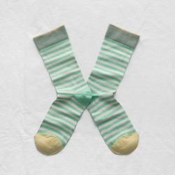 chaussettes - bonne maison -  rayure menthe - vert - femme - homme - mixte