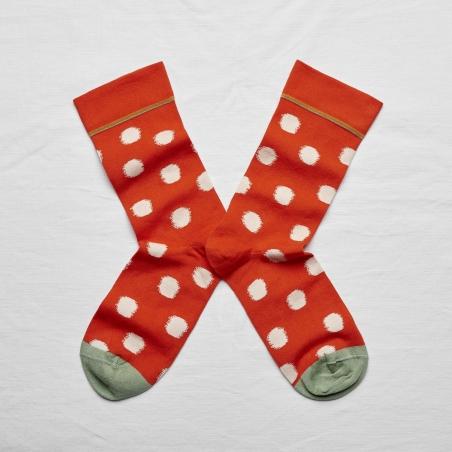 chaussettes - bonne maison -  pois vermillon - rouge - femme - homme - mixte