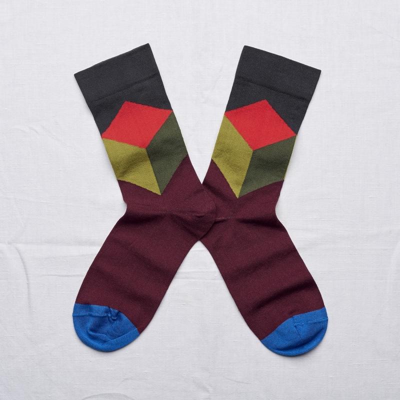 chaussettes - bonne maison -  cube faux noir - noir - femme - homme - mixte
