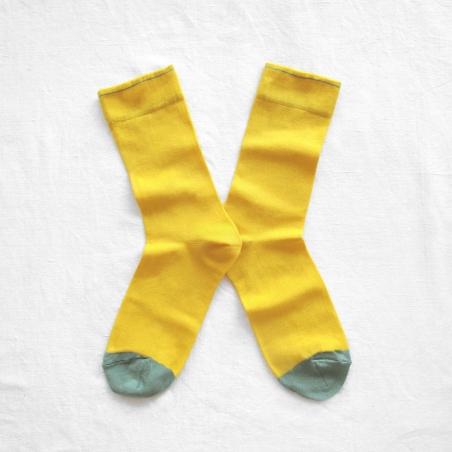 chaussettes - bonne maison -  uni mimosa - jaune - femme - homme - mixte