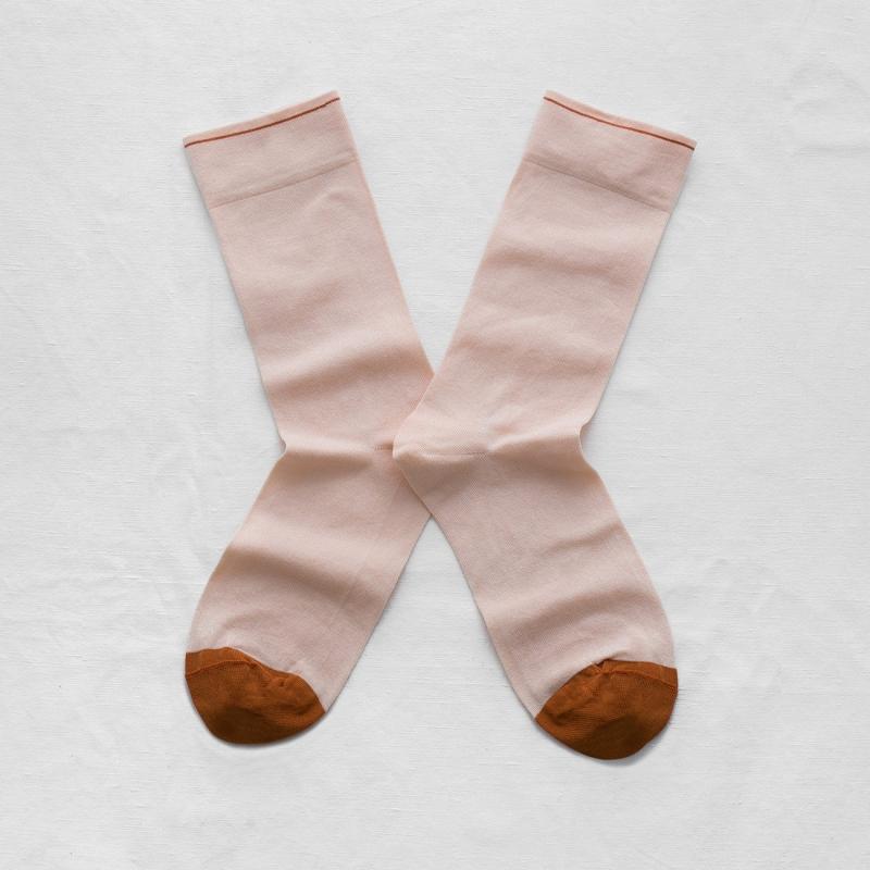 chaussettes - bonne maison -  uni rose bouton - rose - femme - homme - mixte