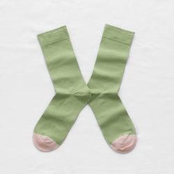 chaussettes - bonne maison -  uni lime - vert - femme - homme - mixte
